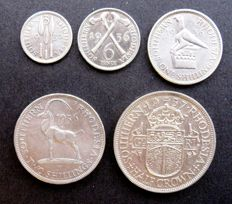 Southern Rhodesia - 3 Pence, 6 Pence, Shilling, Two Shilling and Half Crown 1936/1937 (5 various coins) - silver