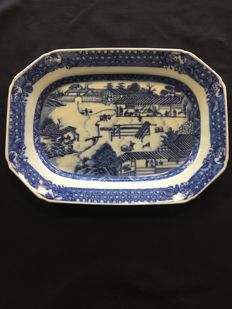 Very unusual 18th Chinese export dish representing the making of porcelain