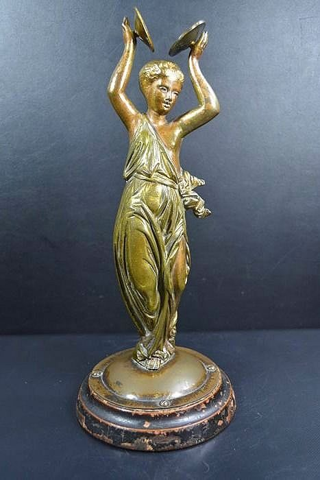Gold-plated bronze dancing woman with two cymbals