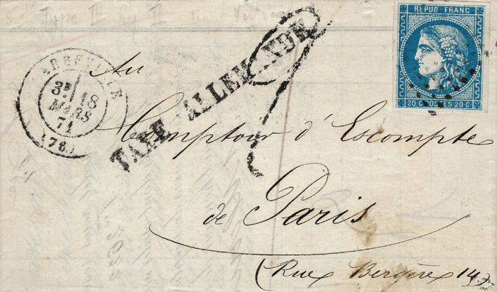 France 1871 - Period of the Commune of Paris, very rare letter with German tax stamp by a 20 c Bordeaux - Yvert number 46