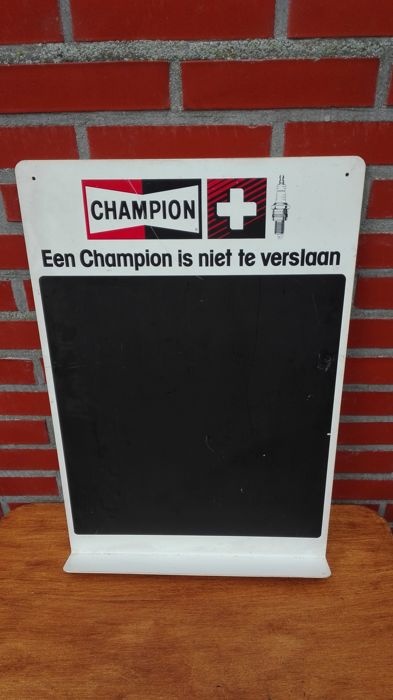 Champion spark plugs - advertising sign / chalkboard - 1970s