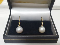 10 mm South Sea Pearl and Diamond Leverback Earrings - 18K Gold