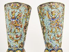 A pair of silver-gilt and cloisonné enamel flutes - maker's mark AO for Aleksey Osipov (working between 1863 - 1868) - Moskow, Russia - 19th century