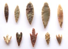 Lot with 10 arrowheads from Niger - 18-55 mm