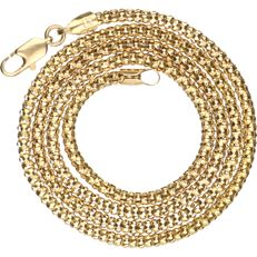 14 kt - Yellow gold popcorn link necklace - length: 45 cm