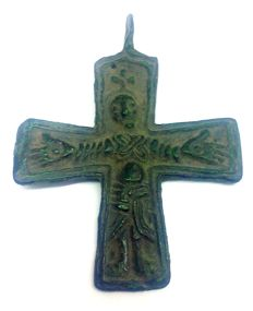 Early medieval Scandinavian bronze cross with a pseudo graphic image of Jesus Christ - 52х40 mm