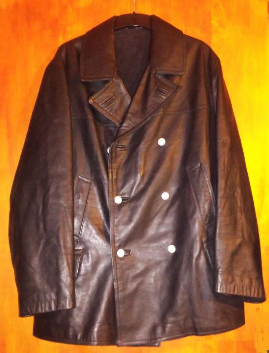 WW2 GERMAN NAVY KRIEGSMARINE OFFICER U-BOAT AUTHENTIC BLACK LEATHER JACKET