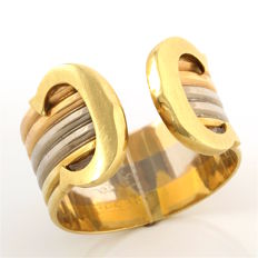 Cartier C D Cartier Tri-color 18k Gold  Ring/Band,  Size 7- O