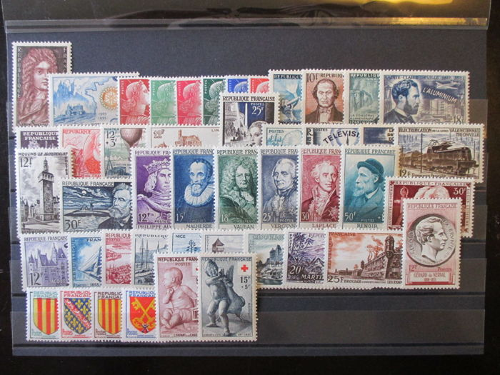 France 1955/1959 – 5 complete years – Yvert 1008/1229.