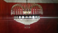 Chandelier lamp made of rock crystal tears and brass. 20th century. France