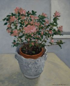 John Webster. (1932-) - Azaleas by the window