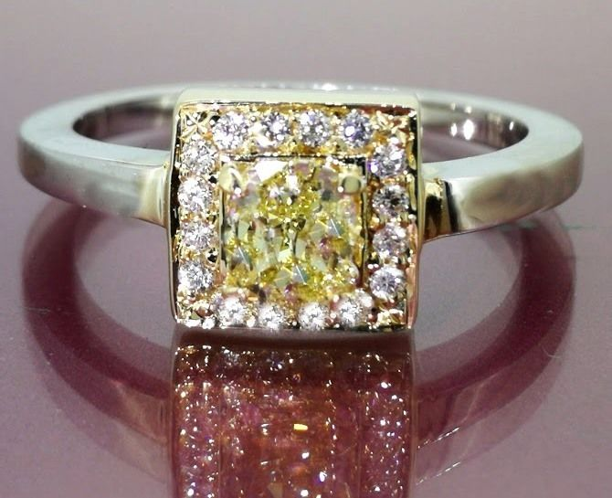 Diamond ring     with natural yellow old cut  diamond, total 0.60 ct – in   B colour gold ###Accompanied by jewelery certificate- Low minimum price###