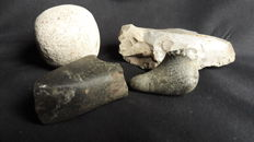 Neolithic Period stone Bird Amulet and Tools collection  (4 pcs)