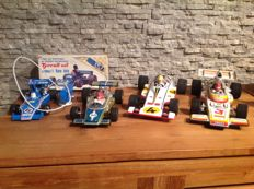 Rico, Spain/Joustra, France/An., Japan - Length: 25-40 cm - Lot of 4 race cars with battery/friction drive, 70s