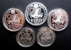 The Netherlands - 20 and 50 (Pre) Euro coins 1996/1998 (5 different coins) - silver