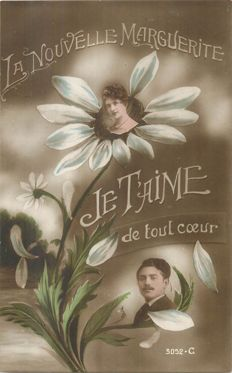 """Fantasy cards, theme: """"je t'aime"""" - lot with 116 old postcards"""