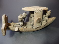 Large african warboat in wood - YORUBA - Nigeria