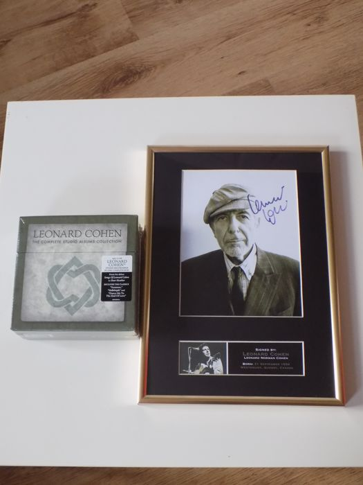"Leonard Cohen "" The Complete Studio Albums Collection "" 11 CD box set and framed photograph with printed signature."