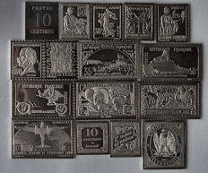 France - Collection of 16 silver stamps - replicas
