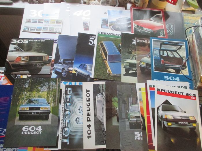 Brochures/ Catalogues - Peugeot, inclusief GTI/104/205/504/505/604 - 1974-2000 (34 items)