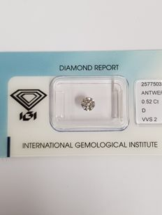 0.52 ct brilliant cut diamond D VVS2