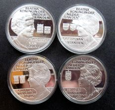The Netherlands - medals Beatrix and her titles - 4 different ones - silver
