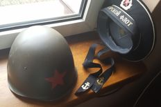 Soviet Russia - a navy cap and a soldier's helmet with a star