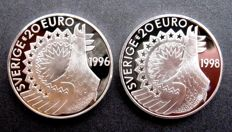 Sweden - 20 (Pre) Euros 1996 and 1998 (2 different kinds) - silver