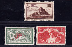 France 1925/1935 –  Selection of 3 stamps – Yvert  no. 308, 260, 207.