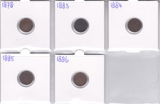 The Netherlands - ½ cent 1878 up to and including 1886 complete series of 5 pieces Willem III - bronze