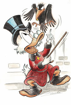 Vendetta, Z. - Original Pastel Painting # 2 - Uncle Scrooge and The Crow