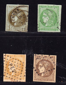 France 1870 – Selection of 4 Ceres Bordeaux  – Yvert no. 39b, 42b, 43b and 47.