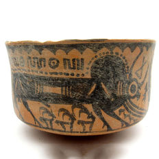 Indus Valley Painted Terracotta Bowl depicting Deer & Bull -  129x178 mm