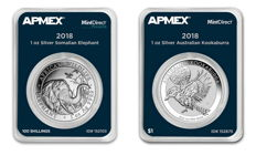 Australia + Somalia - 1 AUD + 100 shillings - 999 silver coin -  Elephant 2018 + Kookaburra 2018 - in MintDirect Slap -  Certified Quality