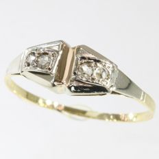 Bicolour gold Art Deco ring with 4 rose cut diamonds, No reserve price