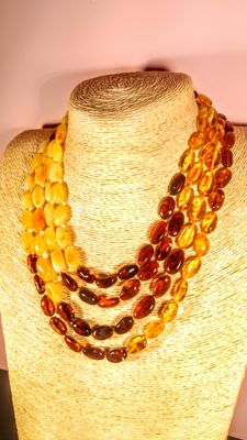 Long 200 cm 100% natural mixed colours Baltic Amber necklace, 55 grams