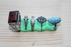 Renaissance silver rings with natural stones - D16-19 mm (5)