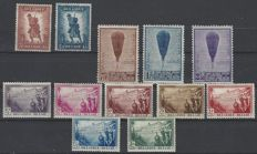 Belgium 1932 - Series 'Infantry,  Piccard Balloon and Sanatorium De Dennen' - OBP nos. 351 to 362