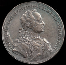 Belgium - silver medal from 1776 - Carolus van Lotharingen - laying the first stone of the church of the Coudenberg Abbey