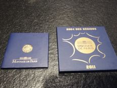 France – pair of 100 Euro 'Semeuse' 2009 and 200 Euro 2011 'Euros des regions' – gold