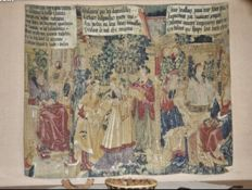 "Reproduction tapestry De Rambouillet, after ""Suzanne and the old men""  from the XVI century, 142 X 176 cm., France, second half 20th century"