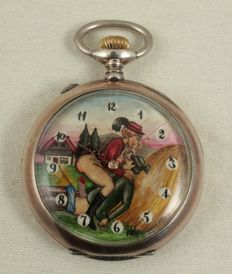Anonym - Silver erotic pocket watch - 971225 - Unisex - 1950-1959