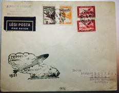 Zeppelin mail - German Empire 1931 - Zeppelin LZ127,  flight to Hungary