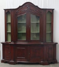 Big red-wooden display cabinet, late 20th century
