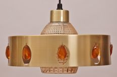 Designer unknown for Hamalux - Brass and glass pendant light