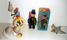 Köhler, Western Germany - length 11-15 cm - lot with 4 plastic/tin movement figures, 50/70s