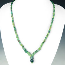 Necklace with Roman green glass beads - jewellery box included