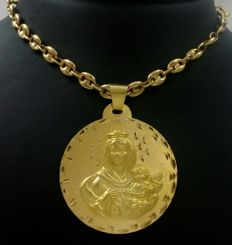 Navy mesh or hawser chain with Our Lady of Mount Carmel medal (4.3 cm,  in diameter) of 18 kt yellow gold.