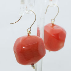 Earrings of Mediterranean Coral mounted on 18 kt Gold