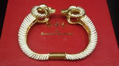 Kenneth Jay Lane - signed 18kt gold plated Ram Cuff Bracelet